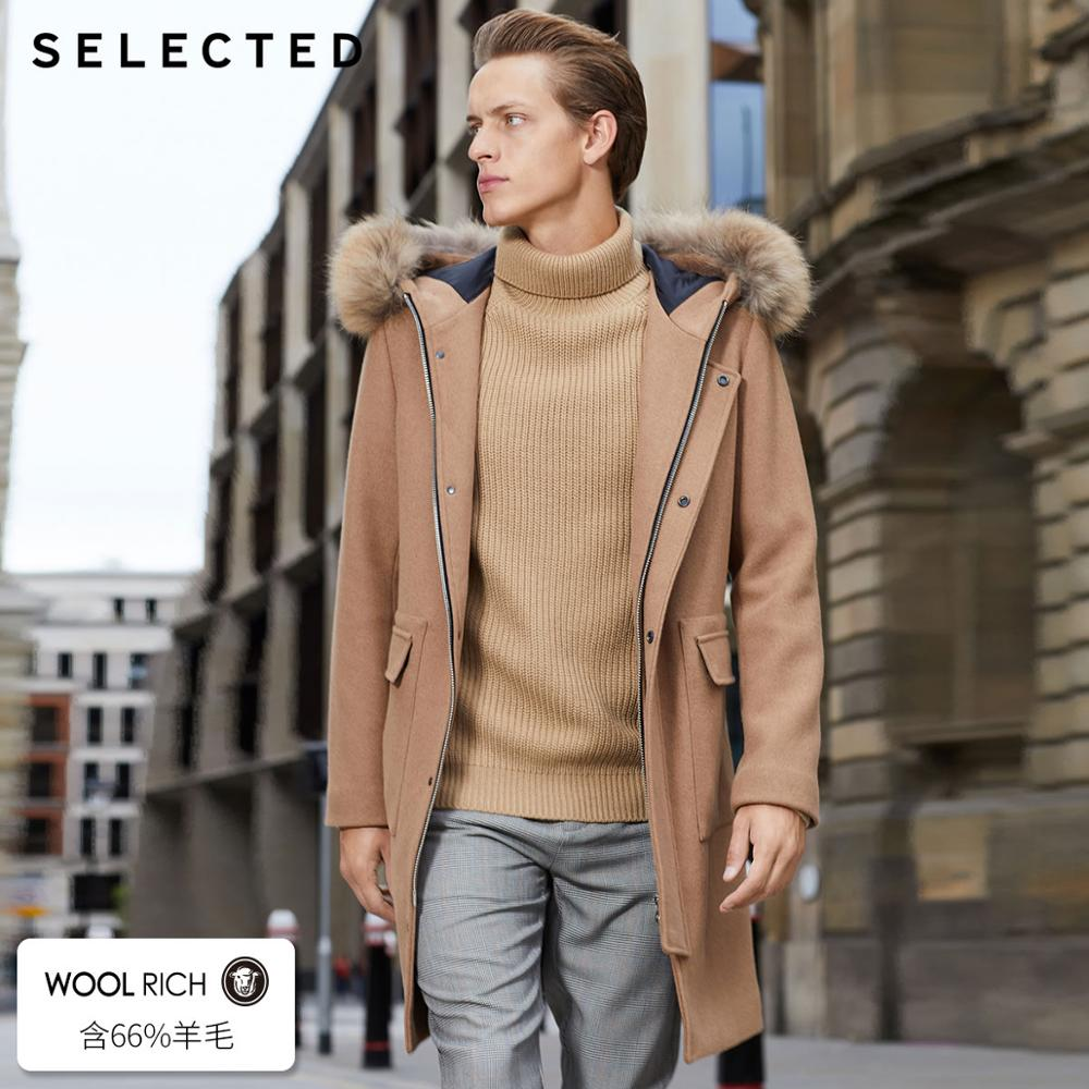 SELECTED Winter New Wool-containing Men's Raccoon Fur Hooded Coat S |418427532