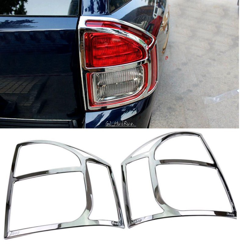 ABS <font><b>Chrome</b></font> Rear Tail Light Lamp Cover Trim 2pcs for <font><b>JEEP</b></font> <font><b>COMPASS</b></font> 2011 <font><b>2012</b></font> 2013 2014 2015 image