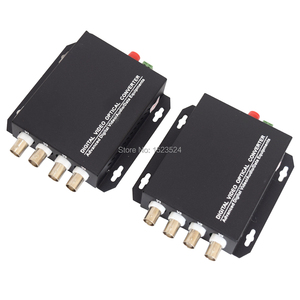Image 1 - 1 Pair 2 Pieces/lot 4 Channel Video Optical Converter 4V1D Fiber Optic Video Optical Transmitter & Receiver 4CH +RS485 Data