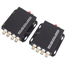 1 par 2 peças/lote 4 canais de vídeo conversor óptico 4v1d fibra óptica vídeo transmissor óptico & receptor 4ch + rs485 dados