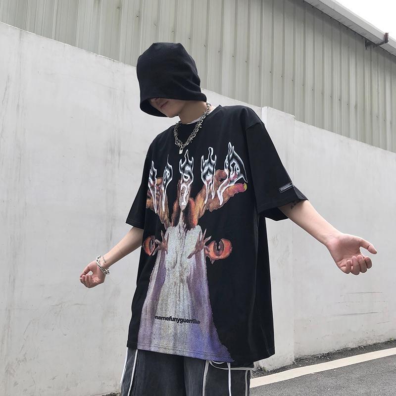 NiceMix Harajuku Streetwear Women Oversize T Shirt Ins T-shirt Hip Hop Summer Tshirts Gothic Flame Print Tops Tee 2020 New Arriv