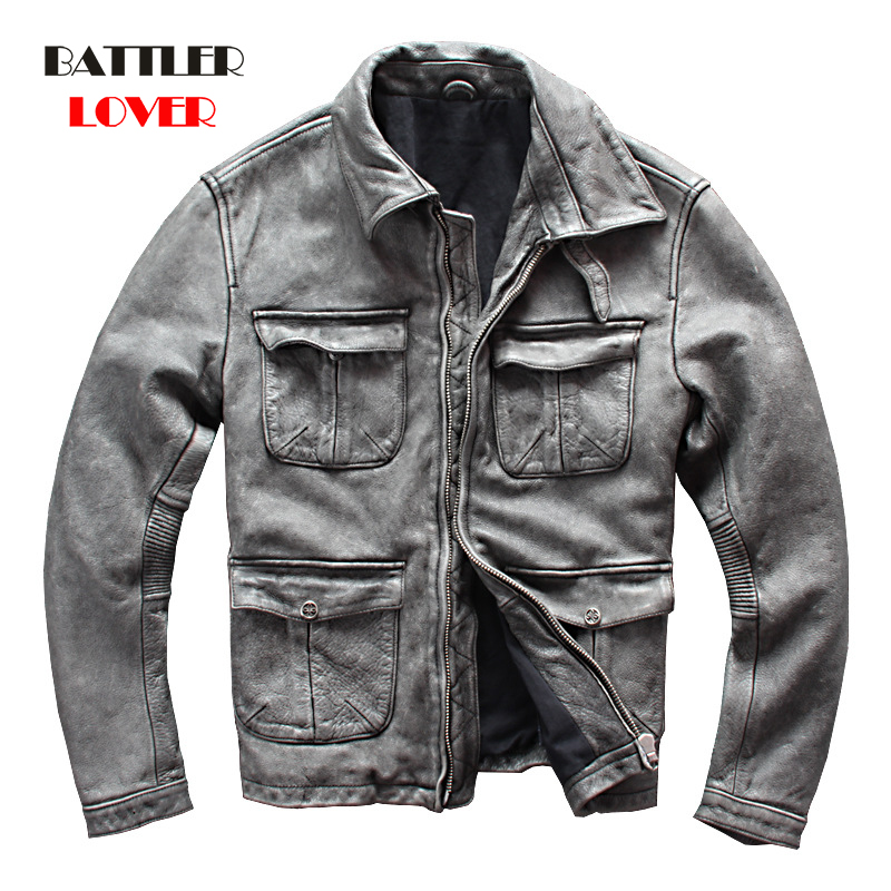 Men Classic Real Cow Leather Coat Genuine Baseball Bomber Leather Jacket Mens Motor Biker Coats Homme Grey Winter Warm Jackets