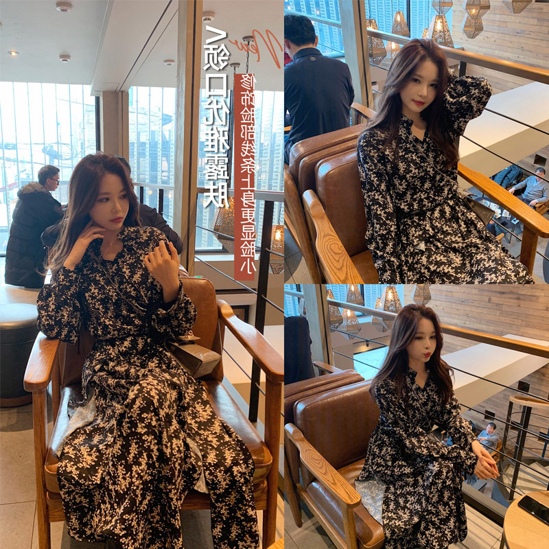 Online Celebrity WOMEN'S Dress French Slit Floral Dress Women's Autumn And Winter 2019 New Style Waist Hugging Slimming Elegant