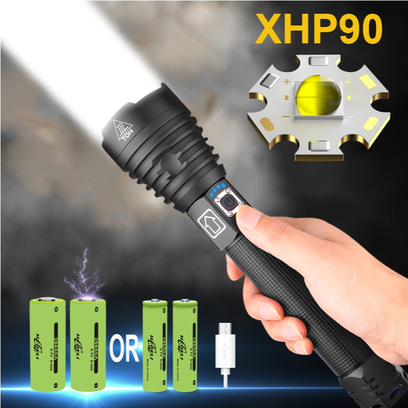 New XHP90 LED Most Powerful Flashlight USB Torch 18650 Or 26650 Tactical light Waterproof Zoom Extensible Defense Camping Lamp