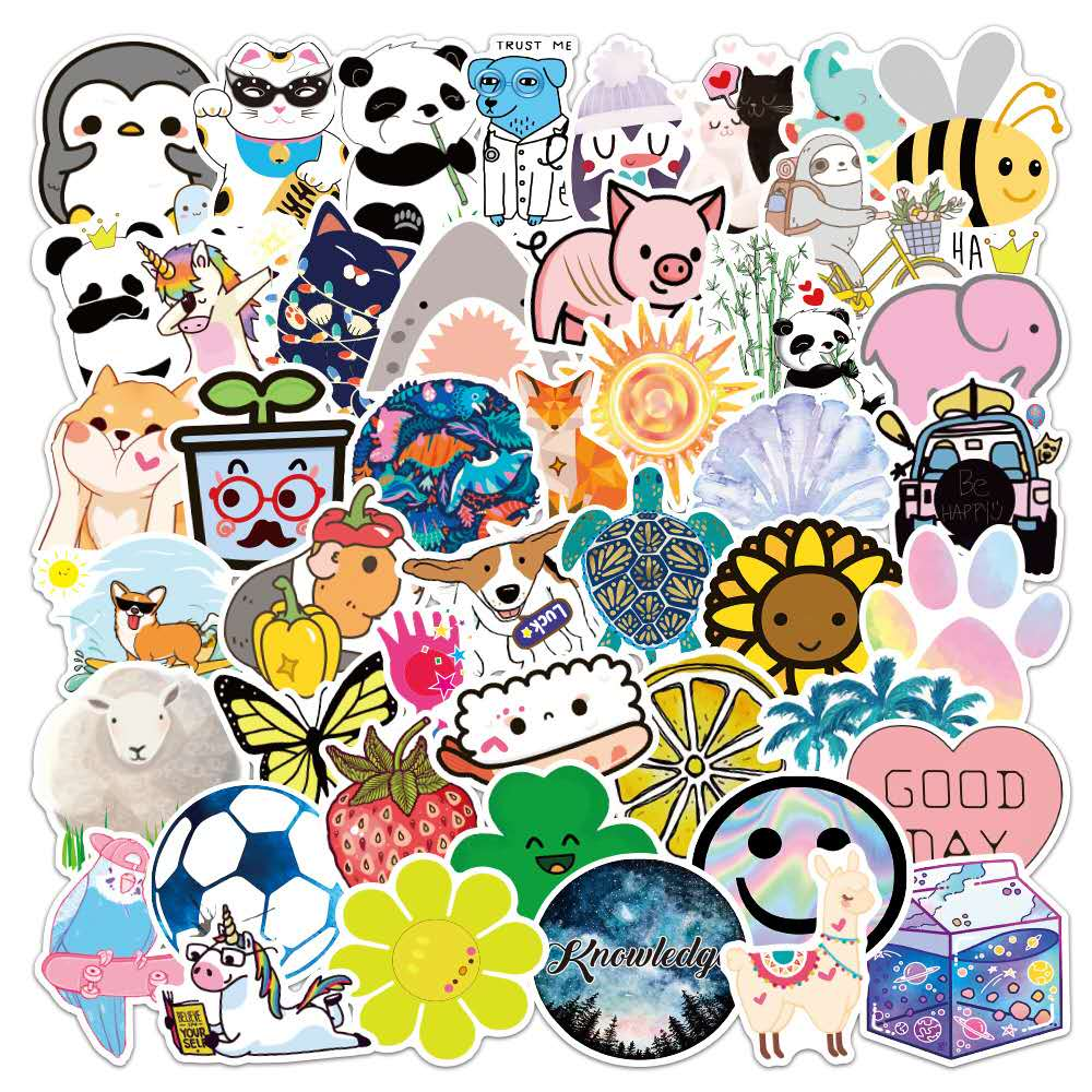 50pcs/set Not Repeat Cute Cartoon Animal Stickers Waterproof SuitCase Notebook Skateboard Stickers