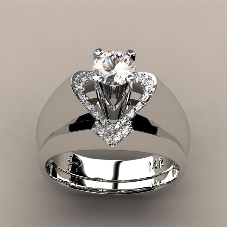 Fashion Female Crystal White Wedding Ring Set Luxury 925 Sterling Silver Heart Promise Engagement Bridal Wedding Rings For Women