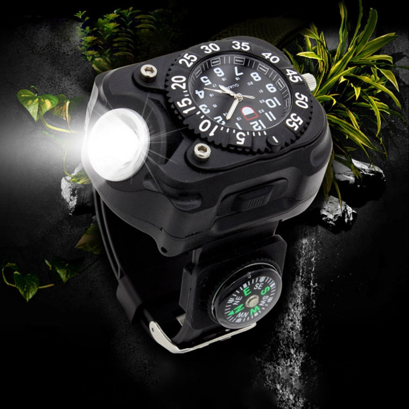 Survival Watch Outdoor Camping Safety Watch Multi function Flashlight Compass Whistle Rescue Rope Outdoor Tools Watch AHPU Outdoor Tools Sports & Entertainment - title=