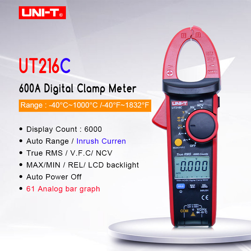 UNI-T UT216C True RMS Digital Clamp meter AC DC Voltage Current Mutimeter Capacitance Resistance Frequency Thermometer tester