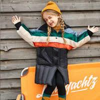 2019 nouvelles filles doudoune mode contraste bébé filles hiver vers le bas manteau Long Style Patchwork enfants doudoune pour les filles, #8171