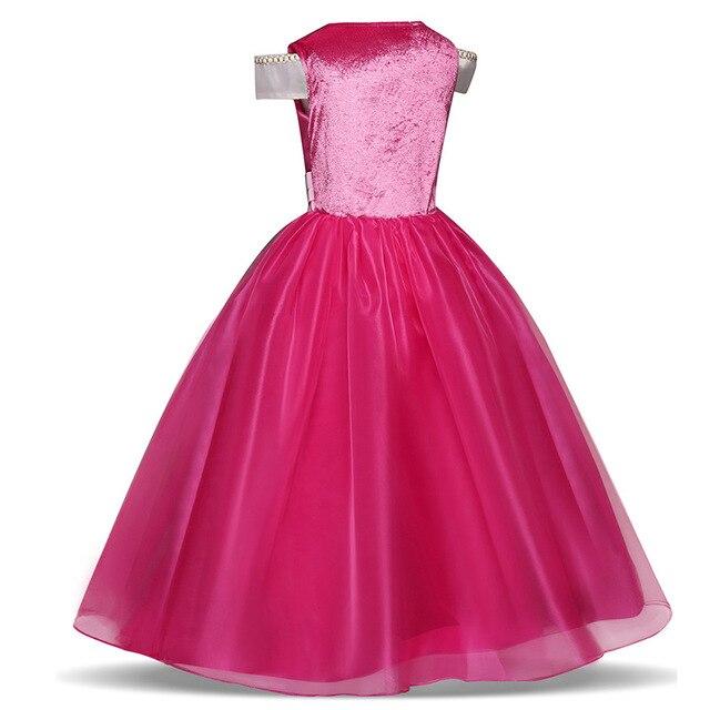 Dzieci księżniczka sukienka dla dziewczynek Cosplay Aurora śpiąca królewna kostium dzieci karnawał boże narodzenie urodziny ubrania imprezowe i peruki
