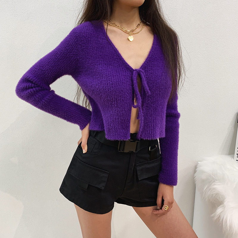 Women Tie Front Fluffy Cropped Cardigan In Rib