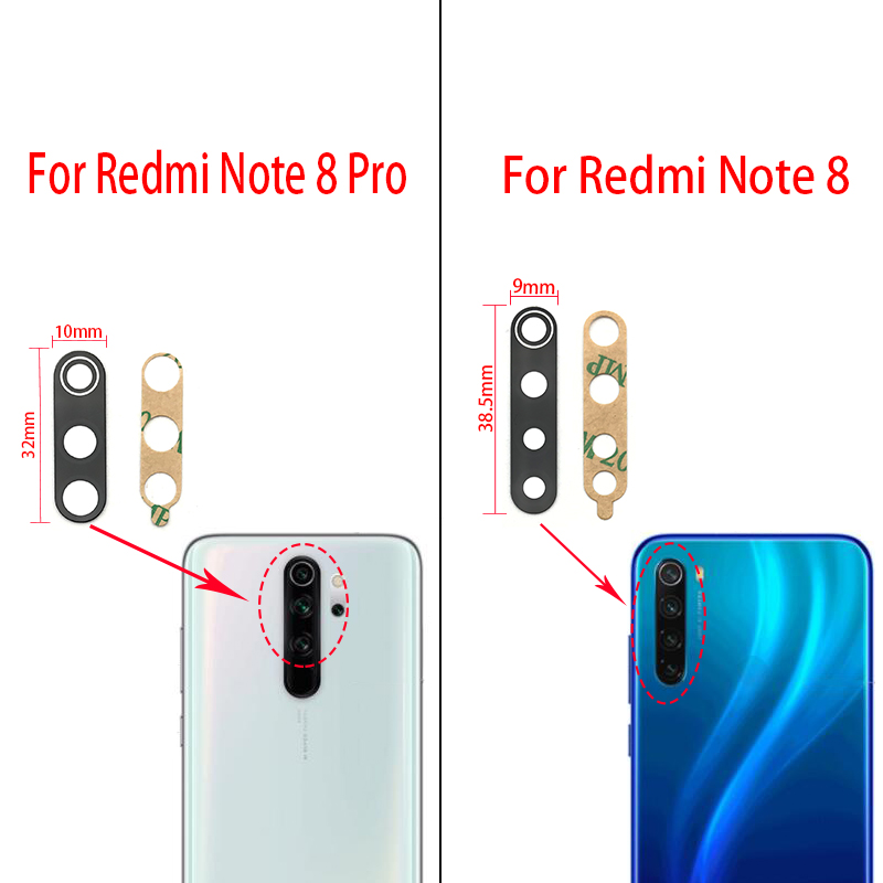 2Pcs/Lot,  For Xiaomi Redmi Note 8 Pro Rear Back Camera Glass Lens With Sticker Replacement Spare Parts
