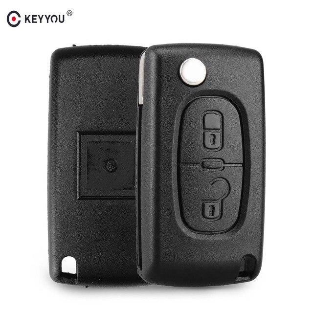 KEYYOU funda de repuesto con mando a distancia para Citroen C2, C3, C4, C5, C6, C8, 2 botones