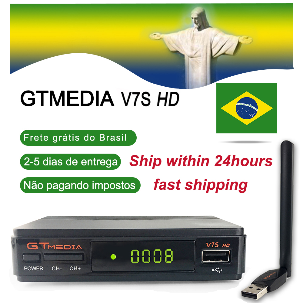 GTMEDIA V7S HD DVB-S2 1080P Satellite TV Receiver+USB WIFI CCcam Brazil Fast Shipping TV Tuner Upgrade Freesat V7 Hd Receptor