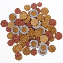 SET OF 80 plastic EURO COINS / Play money NEW maths school Learning Resourc 1/2/5/10/20/50 cent & euro 1/2
