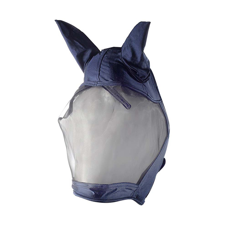NEW-Horse Fly Mask With Ears Breathable Anti-Mosquito Horse Mask(Blue)