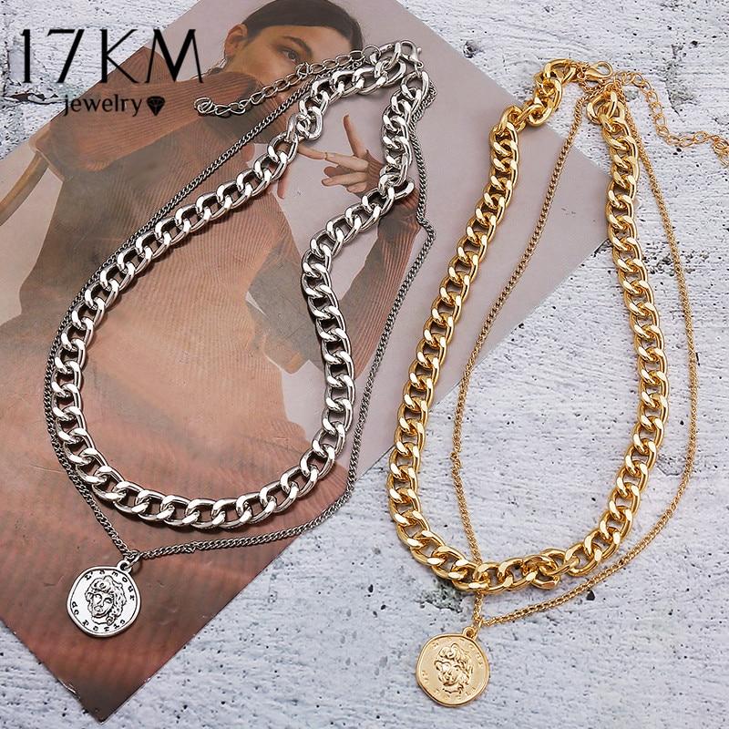 Collana girocollo a catena multistrato Vintage 17KM per donna colore argento dorato ritratto di moda collane a catena robusta gioielli 1