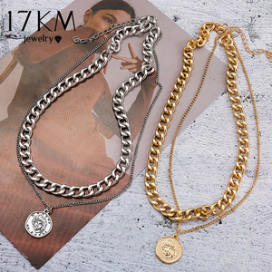 17KM Vintage Multi-layer Coin Chain Choker Necklace For Women Gold Silver Color Fashion Portrait Chunky Chain Necklaces Jewelry