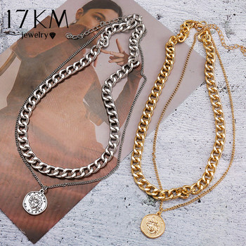 17KM-collar multicapa con cadena para mujer, Gargantilla con moneda, Color dorado y...