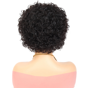 Image 3 - Short Pixie Wig Bouncy Curl Human Hair Wig 6inch 8inch Summer Sale No Lace Closure Wig Natural Color For Women Free Shipping