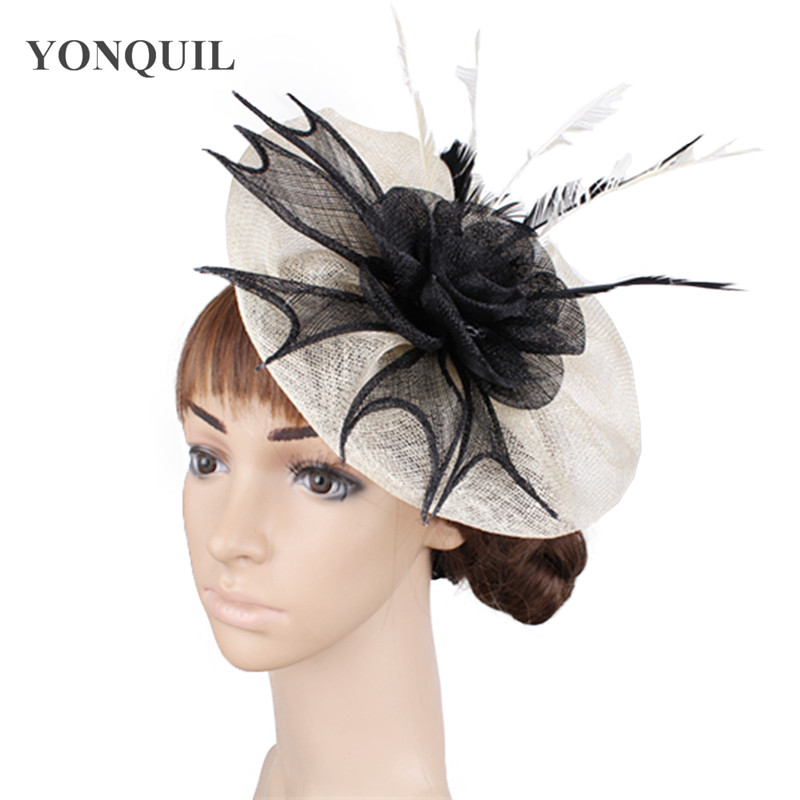 Bridal wedding sinamay headpiece headband fashion women headwear ladies occasion fascinator hat fancy feather hair accessories