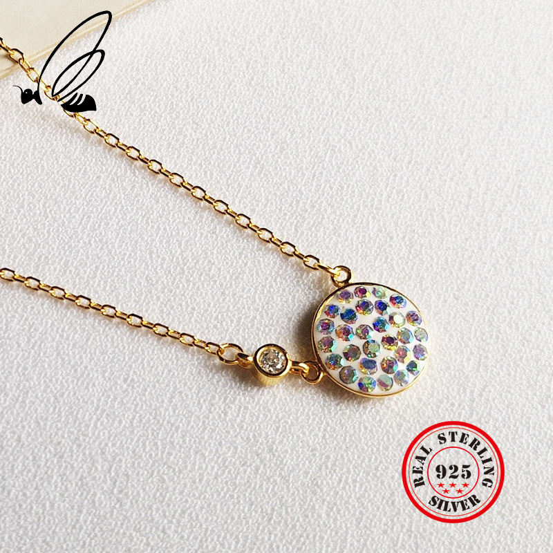Pendant Necklace Pure 925 Sterling Silver Bohemian Gold Chain Couple Colares Compras Collana Donna Accessories Women 39 s Jewelry in Pendant Necklaces from Jewelry amp Accessories