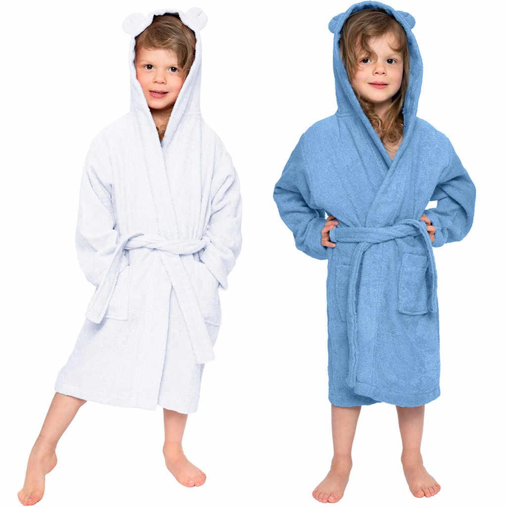 Boys Girls Bathrobes Toddler Kids Hooded Robes Sleepwear for Girls Boys
