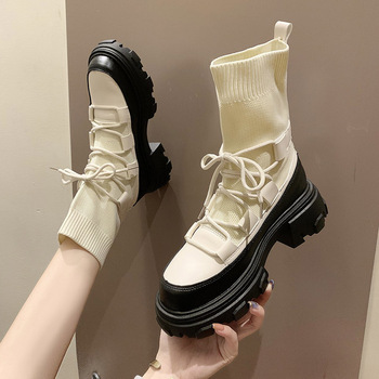 Winter Warm Women Elastic Sock Boots 2020 New Fashion Women Chunky Heel Boots Woman Stretch Sexy Shoes Ankle Lace-up Botas Mujer prowow new high quality genuine leather lace up women winter boots sexy platform boots chunky heel boots botas mujer