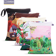 Elinfant #Story of Seasons # Wet-dry Digital Prints Diaper Bag Washable Has Double Zippers and Pockets Cloth Handle Bag Unisex