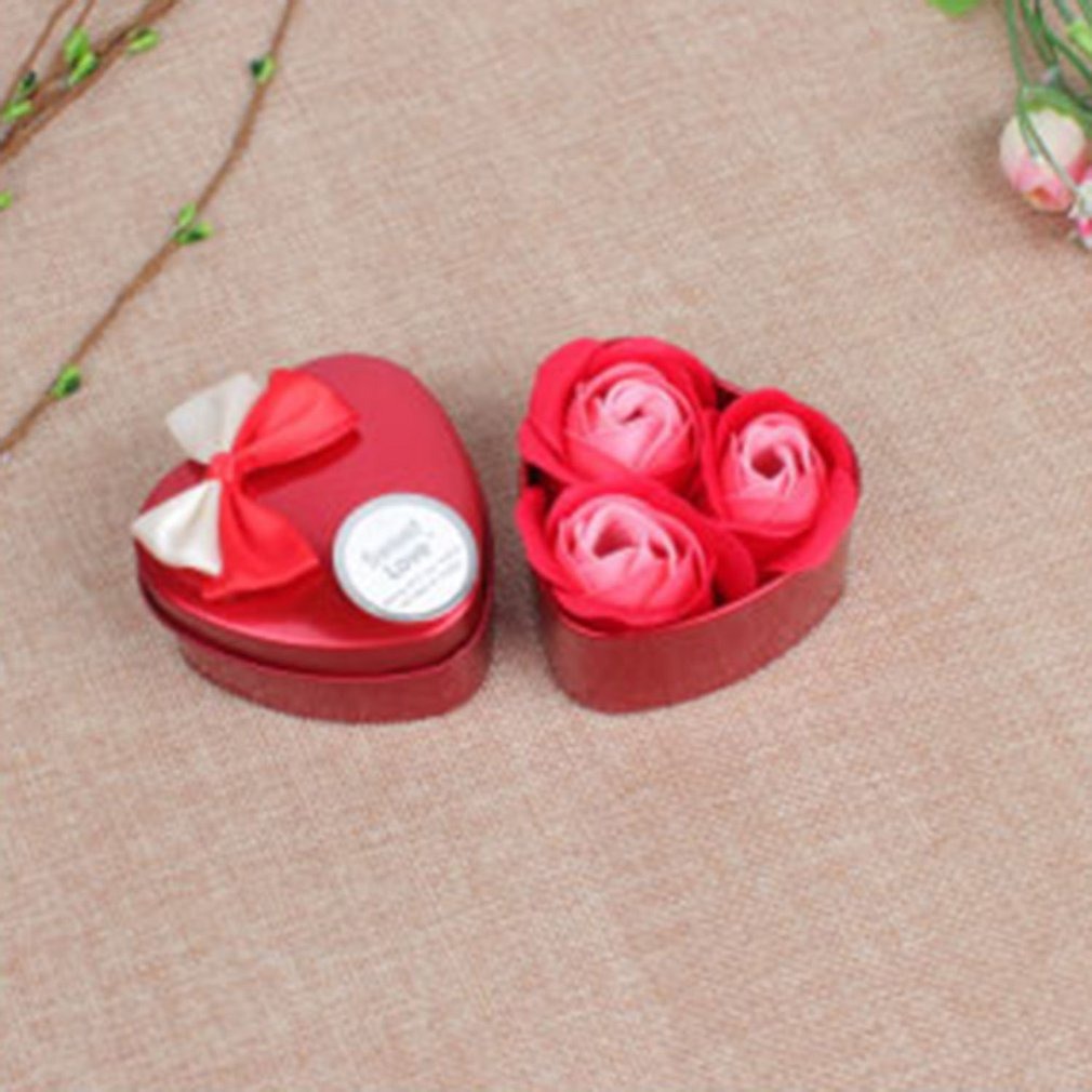 3 Soap Flowers In Heart Shape Iron Box For Gifts Wedding Party Decor Home Decor Fresh Fragrance Never Fade 2019 New Selling