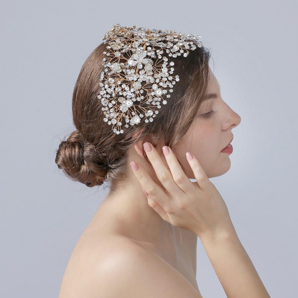 TRiXY H240-G Bridal Hair Accessories Crystal Peals Hair Tiaras Wedding Hair Clips Accessories Golden Jewelry Hair Ornaments