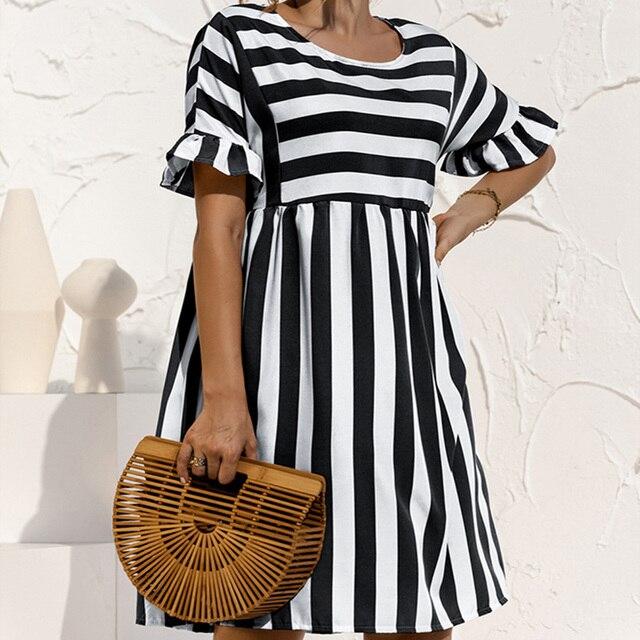 Summer Loose Women Dress Elegant Stripe Midi Dresses Female Casual Short Sleeve Ruffle Office Ladies Dress Pocket Beach Vestidos 2