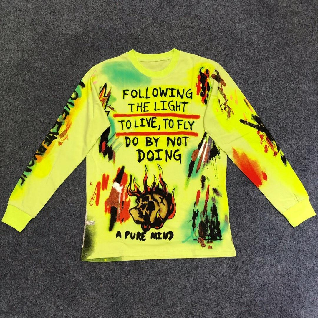 Kanye West Merch ligne crâne imprimé femmes hommes à manches longues Fluorescent vert t-shirts Hiphop hommes coton t-shirt été