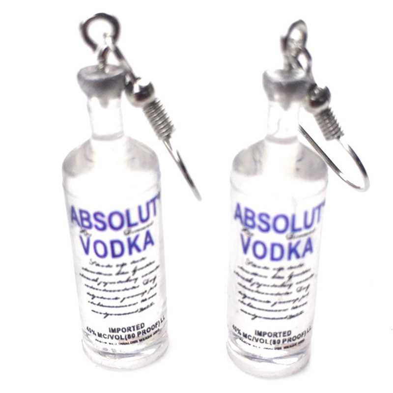 手作りクリエイティブクールウォッカボトルドロップイヤリングおかしい漫画透明飲料ボトル用