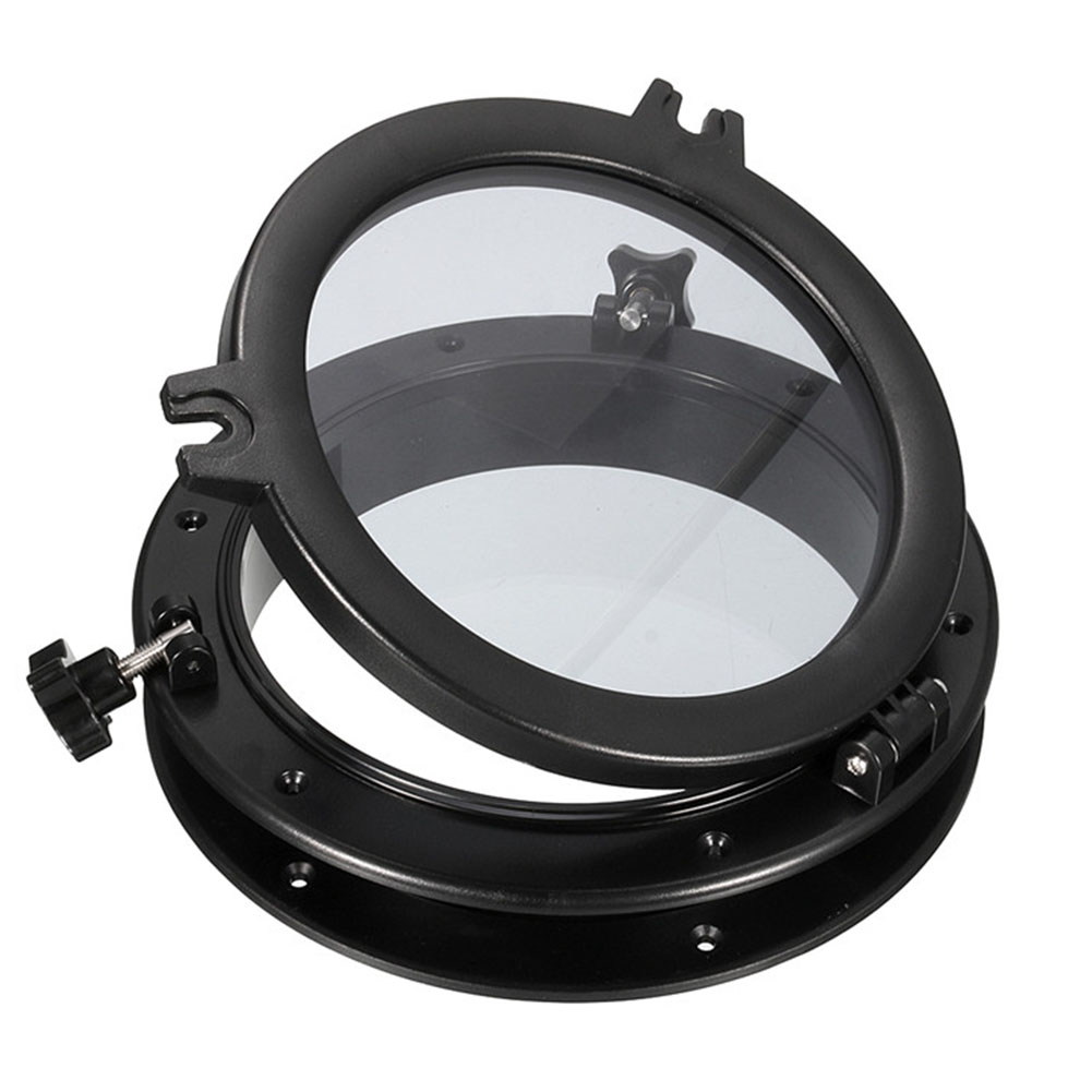 21cm/8inch Black RV Car <font><b>Boat</b></font> Yacht Window Round Shape Opening Portlight <font><b>Hatch</b></font> Car Replacement Porthole ABS Durable image