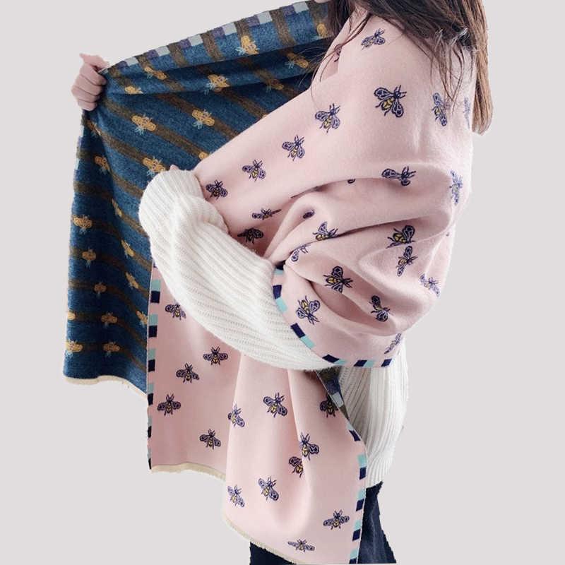 2020 Sciarpa Delle Donne di Inverno Cachemire di Pashmina di Marca di Lusso Scialli Della Signora di Marca Ape Stampa Caldo Foulard Coperta Bandana