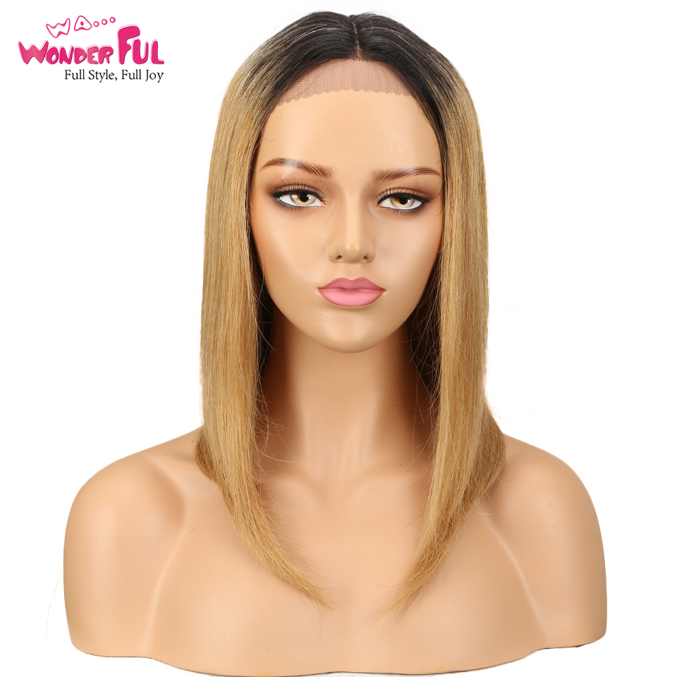 Lace Front Human Hair Wigs Pre Plucked Brazilian Remy  Hair Ombre Blonde Blue Brown Straight Short Bob Wigs 16Inch Fast Shipping