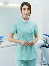 Department of stomatology nurse clothing beauty salon work clothes set manicurist female two-piece woven pink nurse clothing