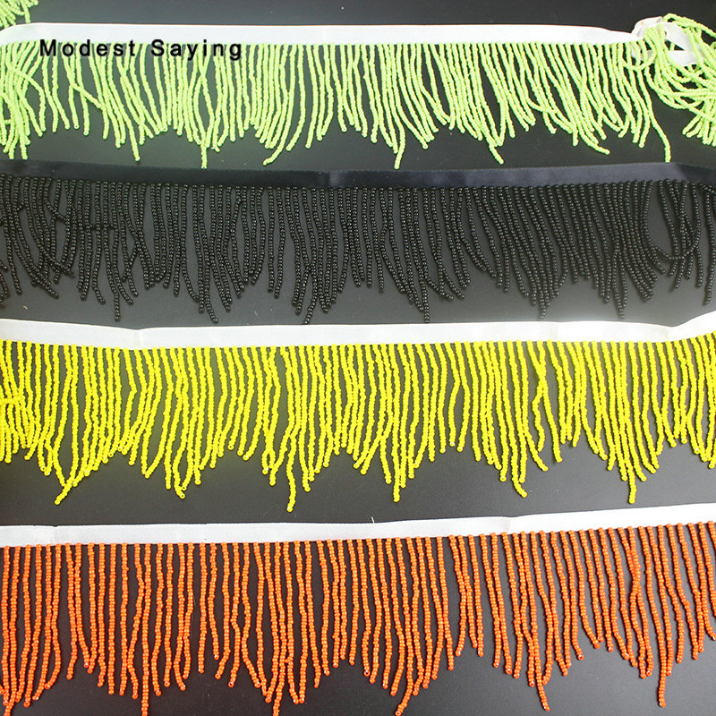 5 Yards Black 8.5cm Beaded Fringe Trim Ribbon Sewing  Tassel Fringe Trimming Latin Dress Drama Evening Gowns Garment Accessories