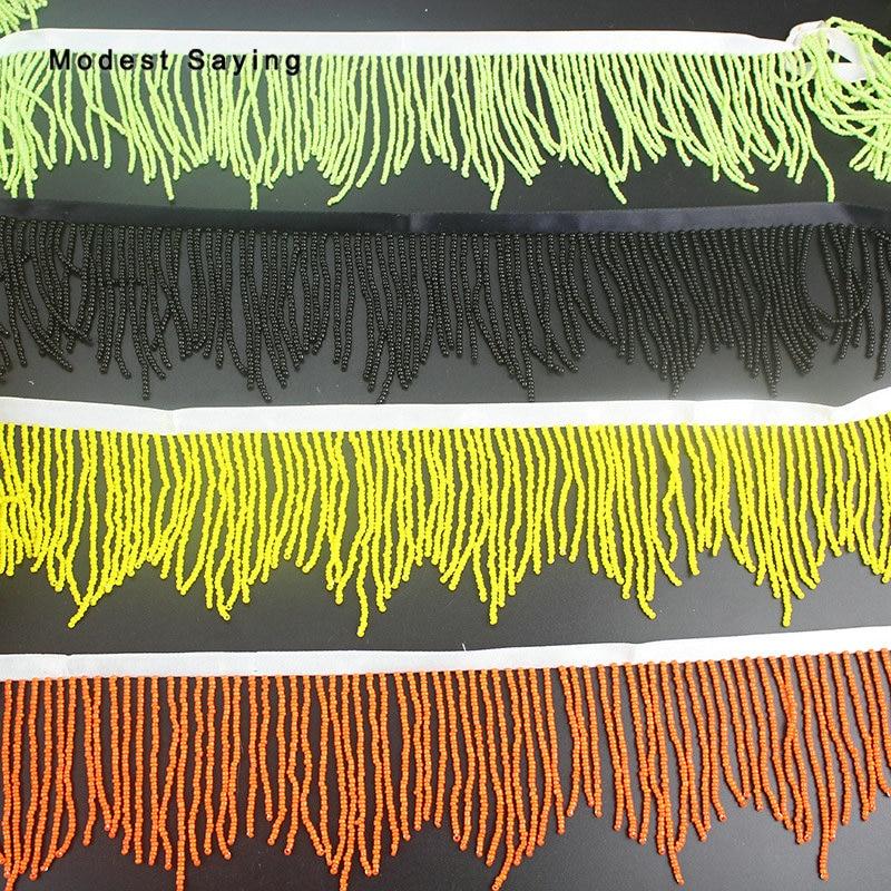 5 Yards Black 8.5cm Beaded Fringe Trim Ribbon Sewing  Tassel Fringe Trimming Latin Dress Drama Evening Gowns Garment Accessories