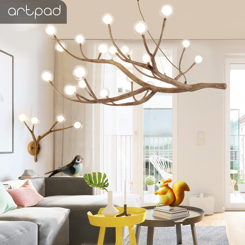 Artpad Nordic Pendant Light Simulation Resin Wooden-Like Hanging Light 4/8/12/16 Head Tree Branch for Living room Homestay Hotel