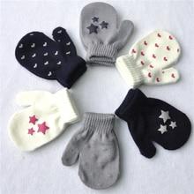 Mittens Warm-Gloves Knitting Kids Soft Cute Dot Star Children Girls for 1-Pair Heart-Pattern