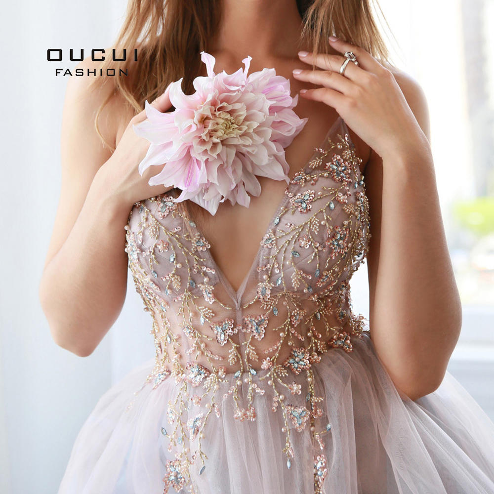 Oucui Dusky Pink Handmade Beaded Prom Dresses 2020 Long Spaghetti Strap See Through Grey Tulle Evening Gown Vestido De Festa