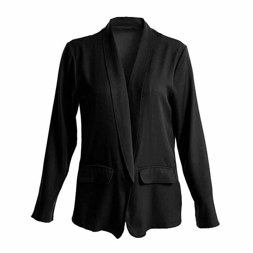 Kobiety podstawowe kurtki damskie stałe otwarta przednia sweter z długim rękawem marynarka Casual kurtka płaszcz odzież wierzchnia krótka kurtka Bomber