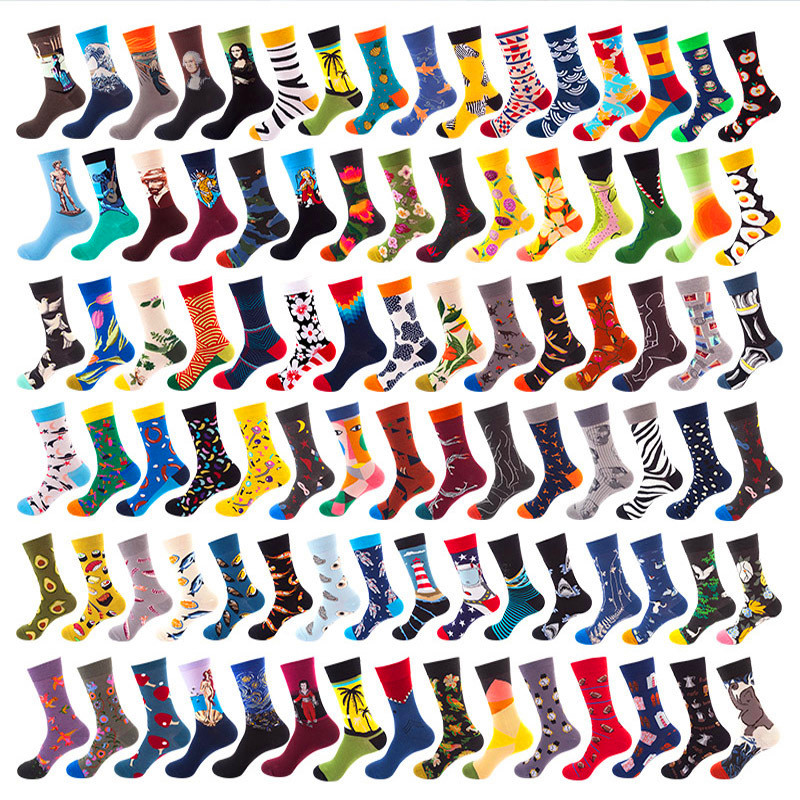 40 Styles Happy Socks Men Winter Autum Funny Art Dress Socks Color Lot Men's Fashion Socks Set Print Van Gogh Art Socks 1 Pair