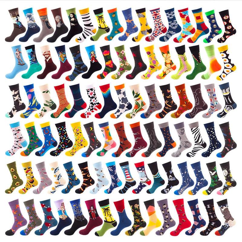 40 Styles Happy Socks Men Winter Autum Funny Art Dress Socks Color Lot Men's Fashion Socks Set Print Van Gogh Art Socks 1 Pair