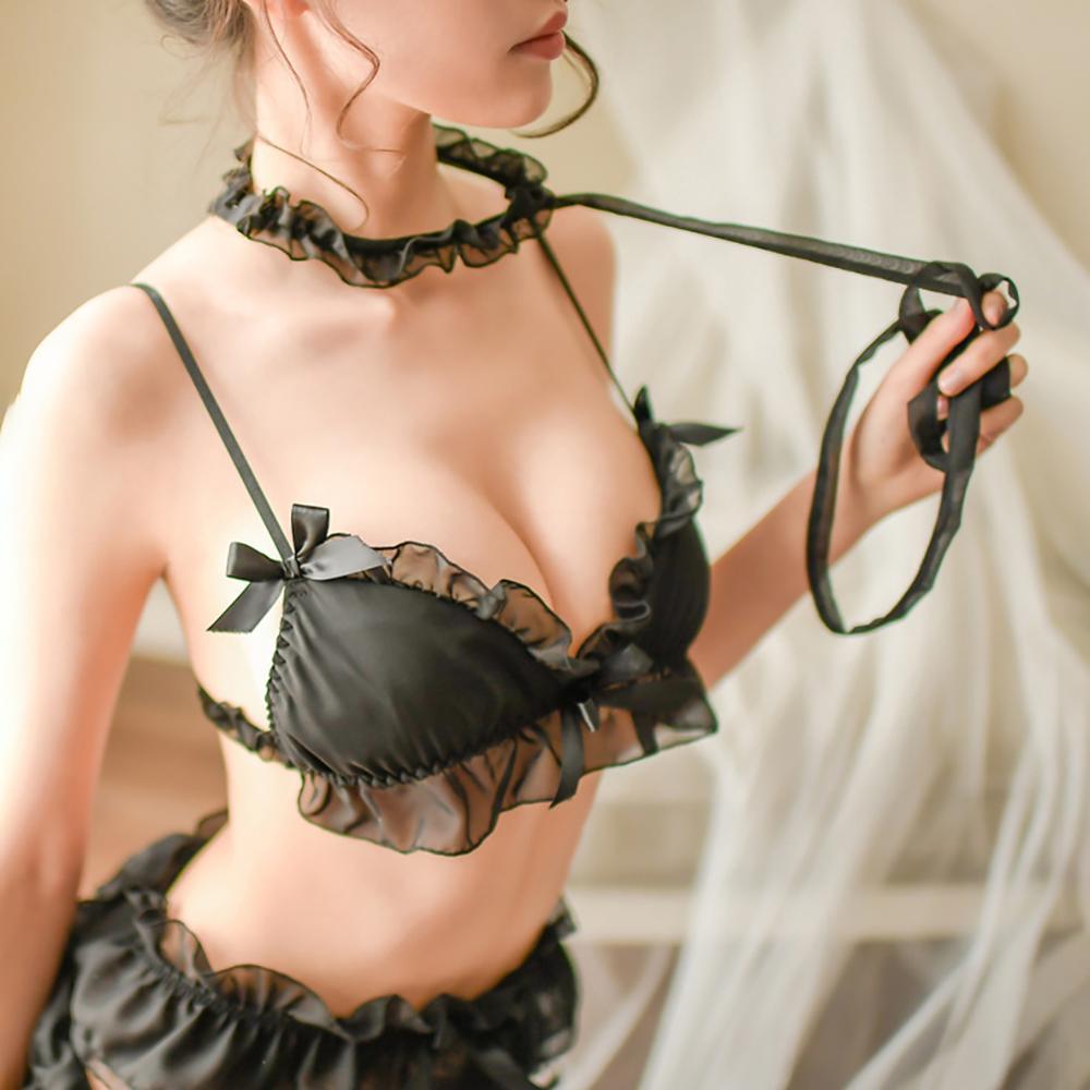 Women Sexy Lingerie Lace Bra Set Garter Stocking Choker Collar 6pcs/Lot