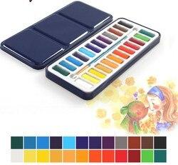 Sólido aquarela tintas 18/24 conjunto de pintura bolos perfeito portátil pintura ao ar livre pigmento crianças dom arte suprimentos agw023
