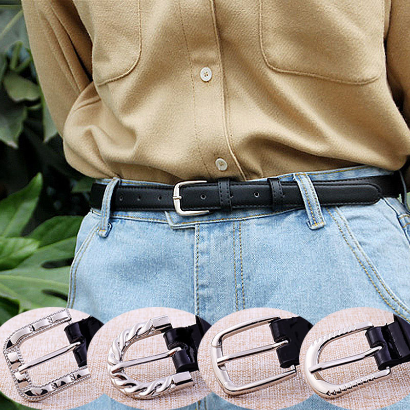 Women Belts Thin Casual PU Leather Belt Ladies 15 Kinds Of Golden Silver Buckle Women's Trousers Jeans Waistband 2020