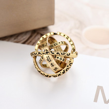 NJ Ethnic Thin Small Chic Gold Letter Ring For Woman Silver Wedding Party Special Design Jewelry Gift
